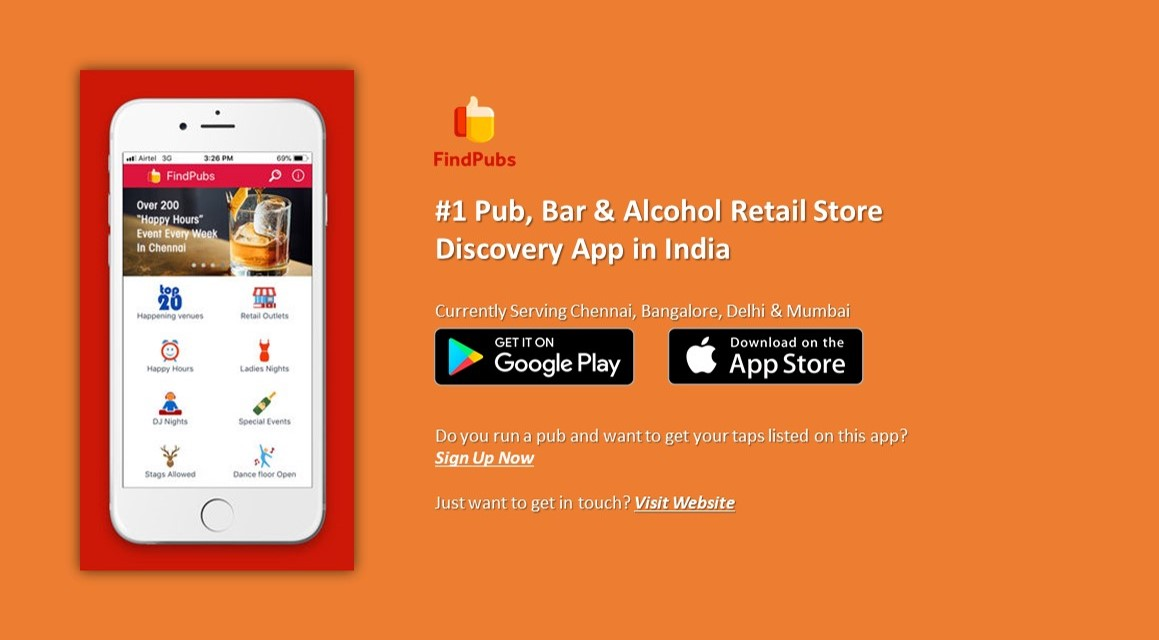 App to find pubs in Chennai