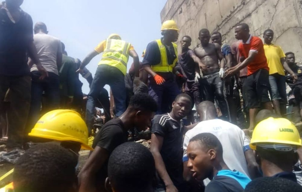 3 Story School Building Collapses in Lagos | Rescue Efforts Ongoing