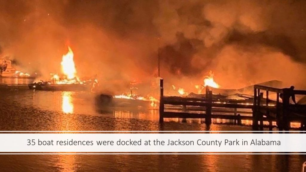 Massive Fire in a Boat Dock in Jackson County